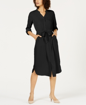 Image of Alfani 3/4-Sleeve Belted Shirtdress, Created for Macy's