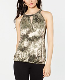 I.N.C. Petite Metallic Keyhole Halter Top, Created for Macy's