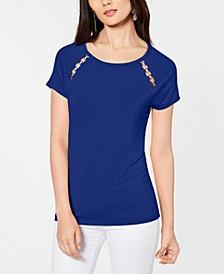INC Grommet-Trim T-Shirt, Created for Macy's