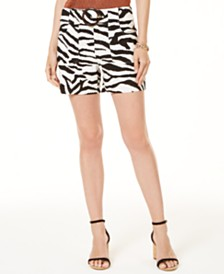 I.N.C. Petite Printed Buckled Shorts, Created for Macy's