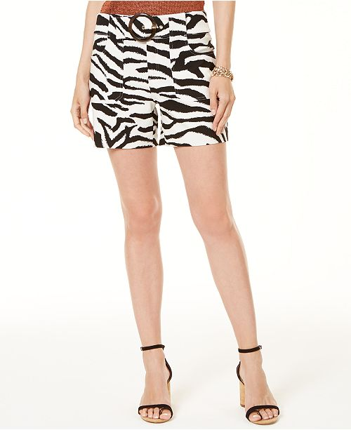 INC International Concepts I.N.C. Petite Printed Buckled Shorts, Created for Macy's