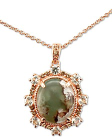 "Peacock Aquaprase (12 x 10mm) & Multi-Gemstone (5/8 ct. t.w.) 20"" Pendant Necklace in 14k Rose Gold"
