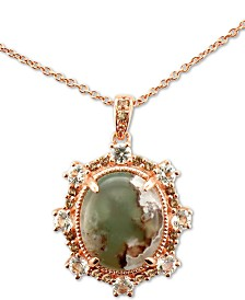"Le Vian® Peacock Aquaprase (12 x 10mm) & Multi-Gemstone (5/8 ct. t.w.) 20"" Pendant Necklace in 14k Rose Gold"