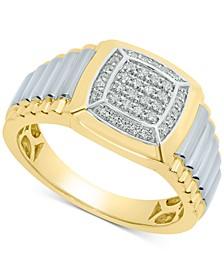 Men's Diamond Two-Tone Ring (1/4 ct. t.w.) in 10k Gold & White Gold