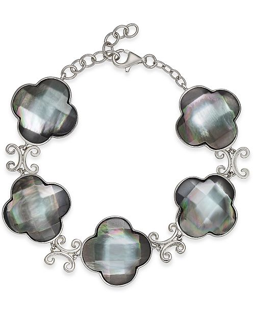 Macy's Mother-of-Pearl Clover Link Bracelet in Sterling Silver