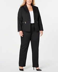 Le Suit Plus Size Pinstriped Zip-Pocket Pantsuit