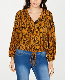 Tie-Hem Snake-Print Top, Created for Macy's