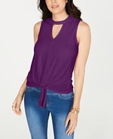 Thalia Sodi Tie-Hem Keyhole Sleeveless Top, Created for Macy's