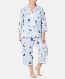 Plus Size Knit Cotton Pajama Set