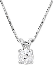 "Lab Grown Diamond Solitaire 18"" Pendant Necklace (1/2 ct. t.w.) in 14k White Gold"