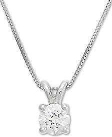 "Grown With Love Lab Grown Diamond Solitaire 18"" Pendant Necklace (1/2 ct. t.w.) in 14k White Gold"