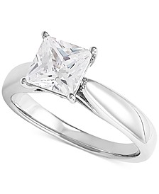 Lab Grown Diamond Princess Solitaire Engagement Ring (1-1/2 ct. t.w.) in 14k White Gold