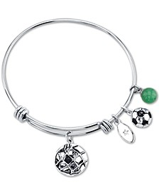 """Go for the Goal"" Soccer Ball Charm Adjustable Bangle Bracelet in Stainless Steel"