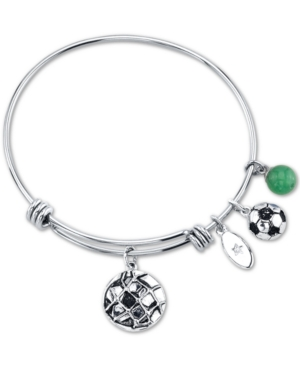 "Unwritten ""Go for the Goal"" Soccer Ball Charm Adjustable Bangle Bracelet in Stainless Steel"
