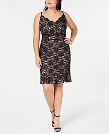 Trendy Plus Size Glitter Lace Bodycon Dress
