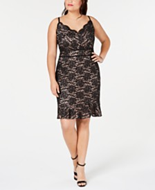 Morgan & Company Trendy Plus Size Glitter Lace Bodycon Dress