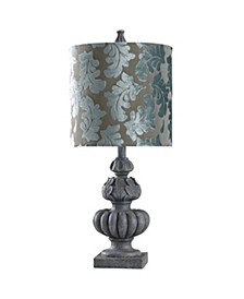 Rye Slate 27in Cast Table Lamp with Designer Print Shade