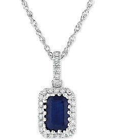 "Sapphire (9/10 ct. t.w.) & Diamond (1/10 ct. t.w.) 18"" Pendant Necklace in 14k White Gold"