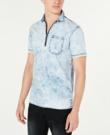 I.N.C. Men's Quarter-Zip Denim Shirt, Created for Macy's