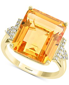 EFFY® Citrine (12-1/3 ct. t.w.) & Diamond (1/10 ct. t.w.) Statement Ring in 14k Gold