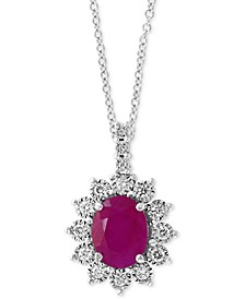 "EFFY® Certified Ruby (1-9/10 ct. t.w.) & Diamond (1/4 ct. t.w.) 18"" Pendant Necklace in 14k White Gold"