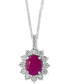 """EFFY® Certified Ruby (1-9/10 ct. t.w.) & Diamond (1/4 ct. t.w.) 18"""" Pendant Necklace in 14k White Gold"""