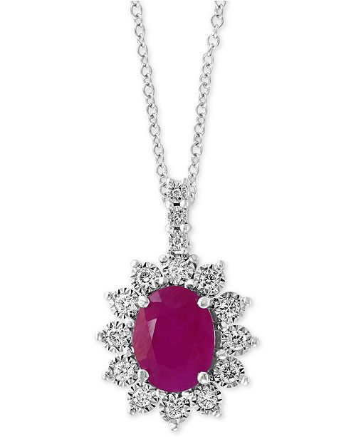 """EFFY Collection EFFY® Certified Ruby (1-9/10 ct. t.w.) & Diamond (1/4 ct. t.w.) 18"""" Pendant Necklace in 14k White Gold"""