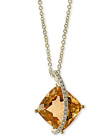 "EFFY® Citrine (6-1/2 ct. t.w.) & Diamond Accent Cushion 18"" Pendant Necklace in 14k Gold"