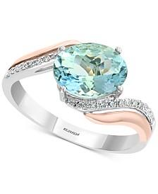 EFFY® Aquamarine (1-3/4 ct. t.w.) & Diamond (1/10 ct. t.w.) Ring in 14k White Gold & Rose Gold