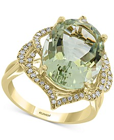 EFFY® Green Quartz (8-1/3 ct. t.w.) & Diamond (1/4 ct. t.w.) Statement Ring in 14k Gold