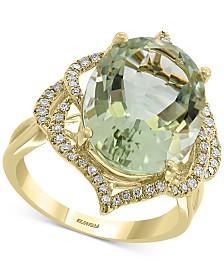 EFFY® Green Quartz (8-1/3 ct. t.w.) & Diamond (1/4 ct. t.w.) Statement Ring in 14k Gold