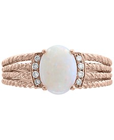EFFY® Opal (9/10 ct. t.w.) & Diamond Accent Rope-Look Multi-Row Ring in 14k Rose Gold
