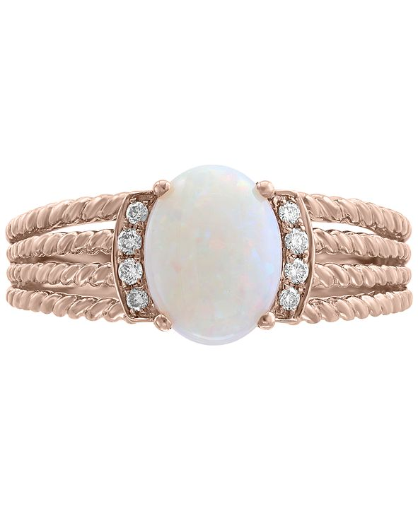 EFFY Collection EFFY® Opal (9/10 ct. t.w.) & Diamond Accent Rope-Look Multi-Row Ring in 14k Rose Gold