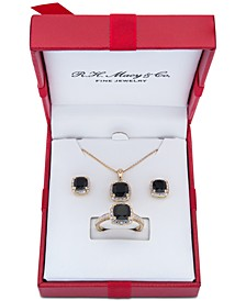 3-Pc. Set Onyx & Diamond Accent Pendant Necklace, Ring and Stud Earrings in 14k Gold-Plated Sterling Silver