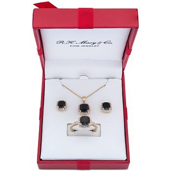 Macy's 3-Pc. Set Onyx & Diamond Necklace, Ring & Stud Earrings
