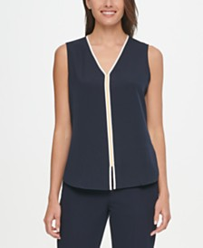 Tommy Hilfiger Piped Contrast-Inset Top
