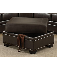 AC Pacific Louis Traditional Upholstered Storage Ottoman with Antique Brass Nail Head Trim