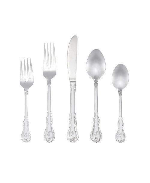 RiverRidge Home Riverridge Bouquet 46 Piece Monogrammed Flatware Set - Q, Service for 8