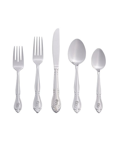 RiverRidge Home Riverridge Rose 46 Piece Monogrammed Flatware Set - P, Service for 8