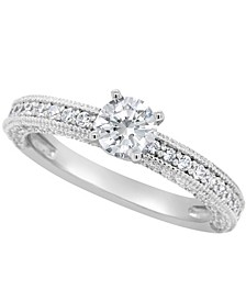 Certified Round Diamond Engagement Ring (1 1/5 ct. t.w.) in Platinum