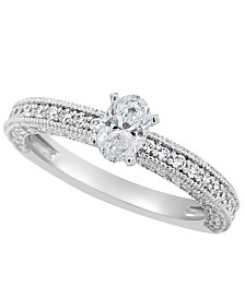 Certified Oval Diamond Engagement Ring (1 1/5 ct. t.w.) in Platinum