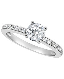 Certified Round Diamond Engagement Ring (1 ct. t.w.) in Platinum