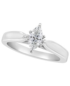 Certified Marquise Diamond Solitaire Engagement Ring (1/2 c.t. t.w.) in Platinum