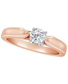 Certified Round Diamond Solitaire Engagement Ring (1/2 c.t. t.w.) in 14k White Gold, Rose Gold, or Yellow Gold