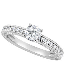 Certified Round Diamond Engagement Ring (1 1/5 ct. t.w.) in 14k White Gold, Rose Gold, or Yellow Gold