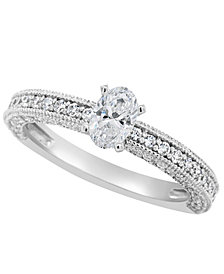 Certified Oval Diamond Engagement Ring (1 1/5 ct. t.w.) in 14k White Gold, Rose Gold, or Yellow Gold
