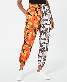 Two-Tone Camo-Print Parachute Pants