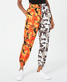 Waisted Two-Tone Camo-Print Parachute Pants