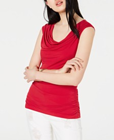 BCX Juniors' Ruched-Side Lace-Up Back Top