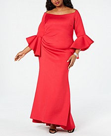 Plus Size Off-The-Shoulder Scuba Gown